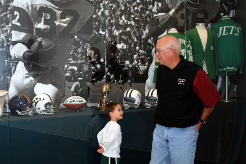 Tyler and Coach in the Jets facility...we toured it the day before the game
