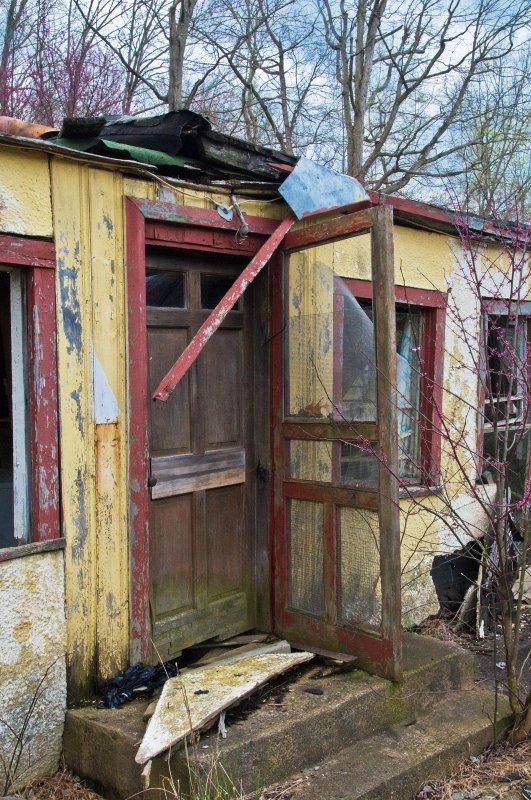 Front Door of an Abandoned Inn Office