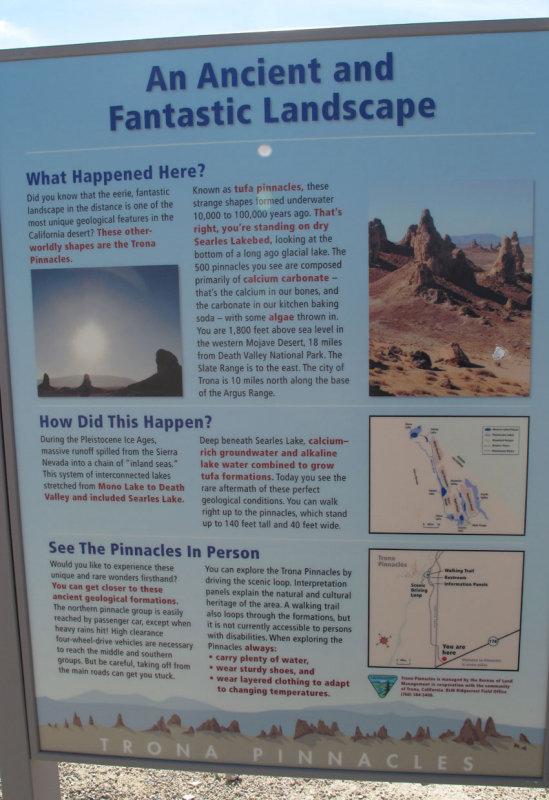 Trona Pinnacles sign