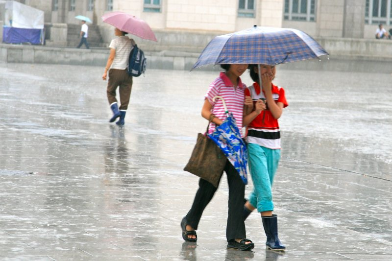 Schoolgirls Sharing an Umbrella, Pyongyang