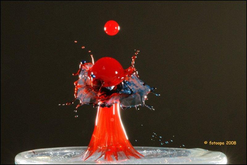 Splash of multiple color droplets.