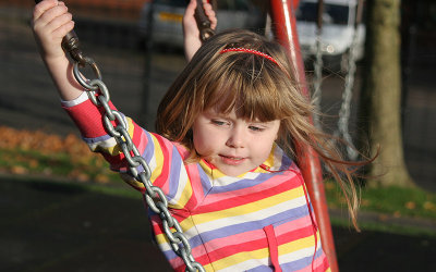 Heather on the swings