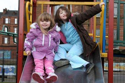 Heather & Eileen on chute