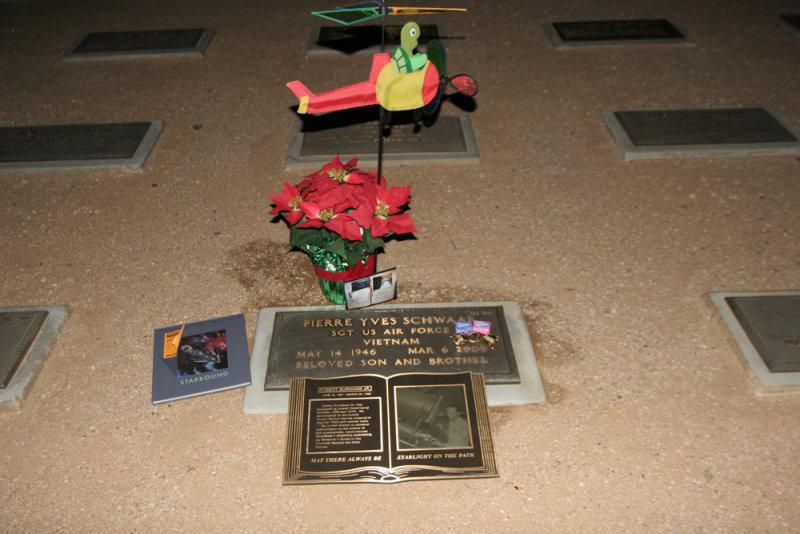 Burnham plaque at Pierre Schwaars gravesite, National Memorial Cemetery Phoenix AZ