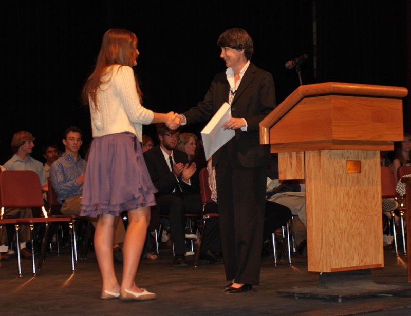 Dr. Eileen Friel, Director Lowell Observatory presents Haley Morgan DeLong the Burnham Scholarship