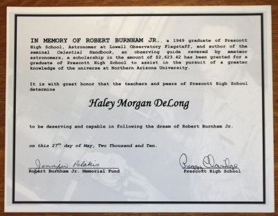 On May 27, 2010 We went to Prescott High Schools Scholarship and Award Presentation.  Here is the certificate we made...