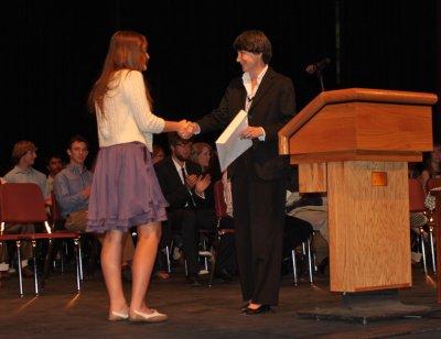 Dr. Eileen Friel, Director Lowell Observatory presents Haley Morgan DeLong the Burnham Scholarship