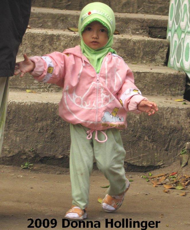 Little GIrl Visiting Mount Merapi