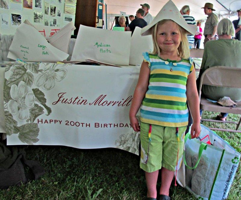 Elisia Modelling the Justin Morrill Birthday Hat