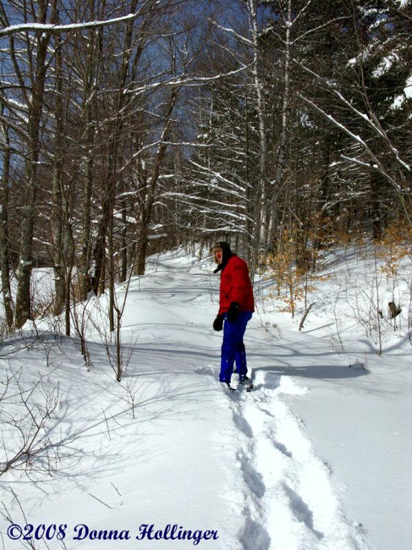 Peter Snowshoeing in Vermont