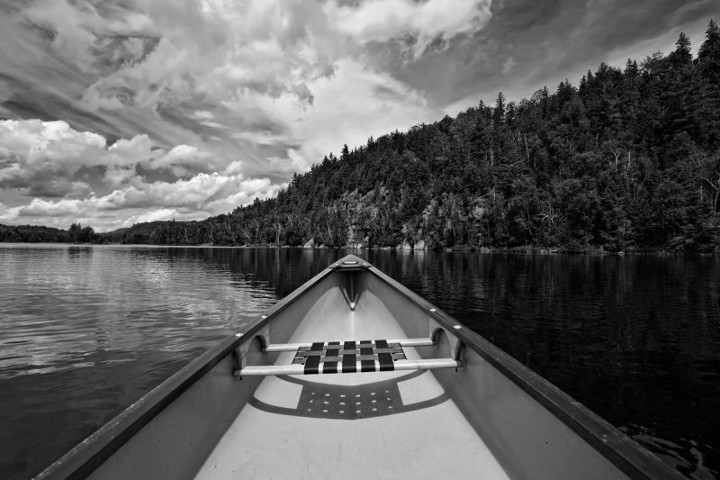 Canoeing in Oxetongue Lake in B&W