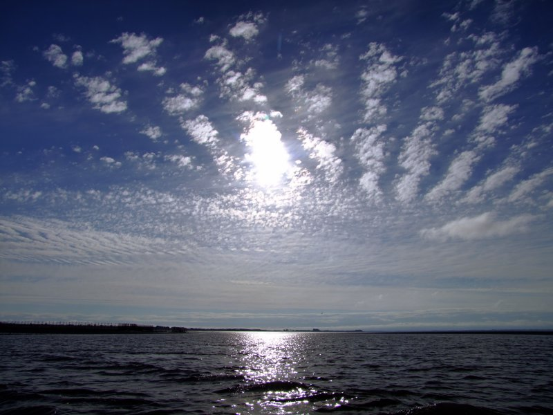 Sunlight   streaks  upon  the  ebbing  tide.