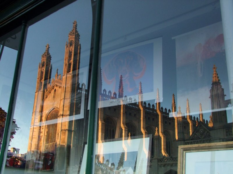 Kings  College  chapel  reflected.