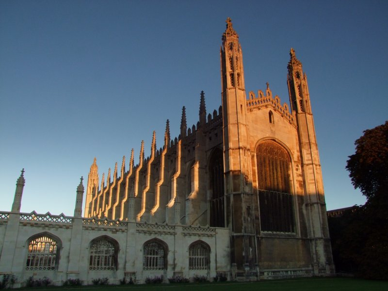 Kings  College  chapel, catching  the  morning  sunlight.