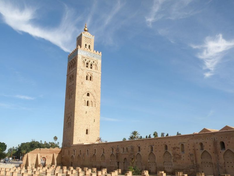 the Koutoubia, the minaret to a 12th-c. mosque in Marrakech