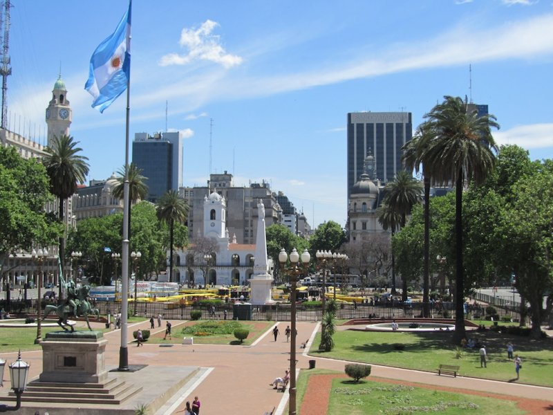 from the front balcony, looking across the Plaza de Mayo