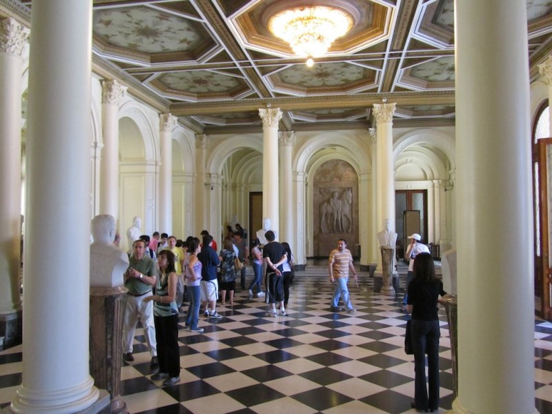 in the reception hall, with busts of Argentine presidents