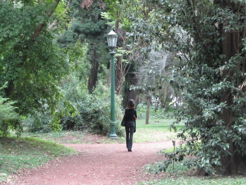 back onto the park paths