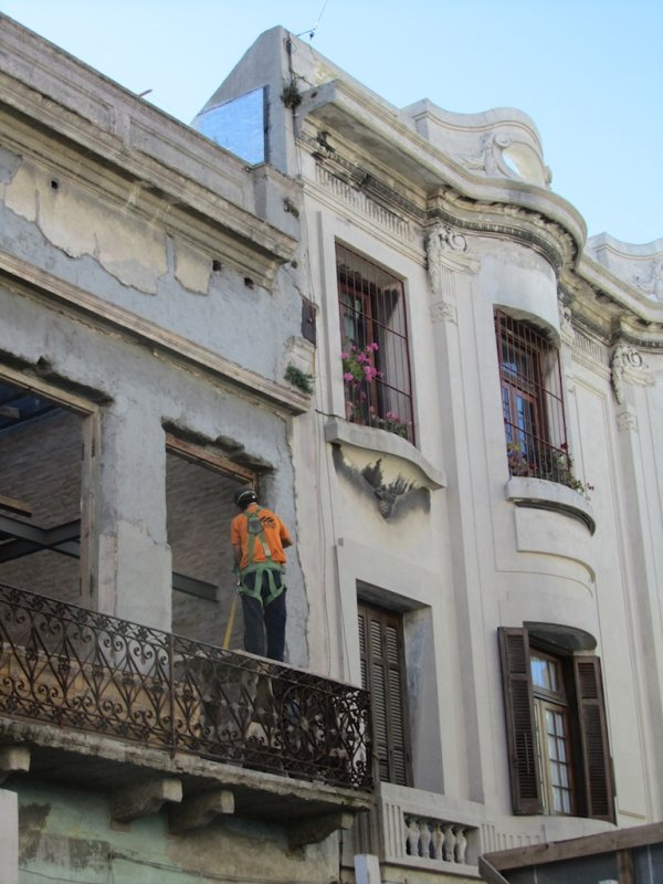 working on one of the old buildings