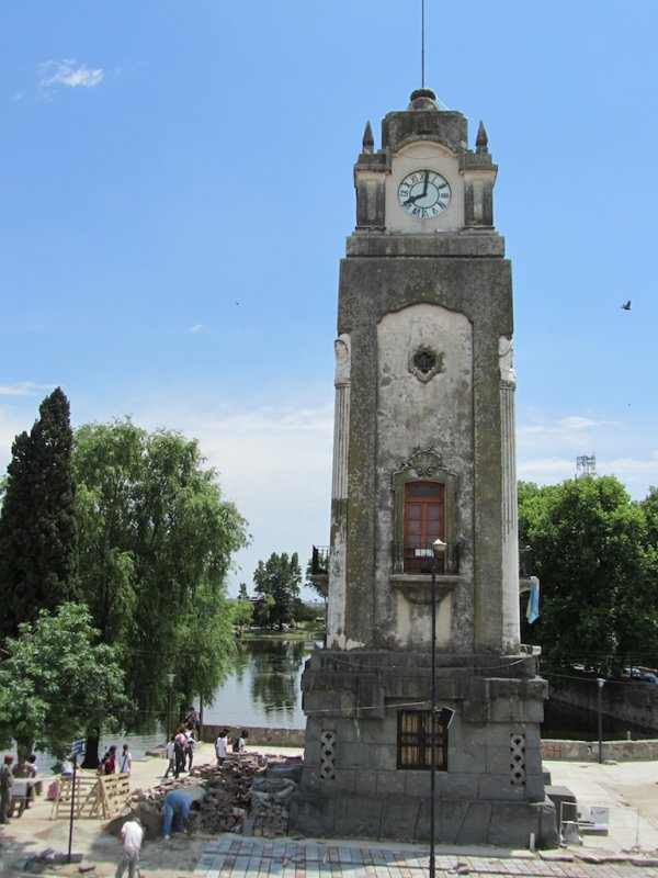 the clock tower on the lake