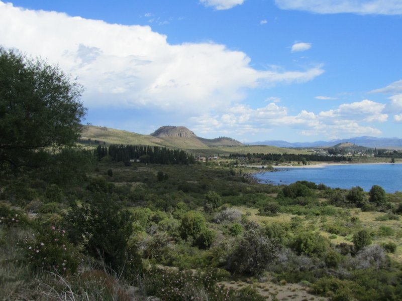 a view back toward Bariloche, with volcanic mounds