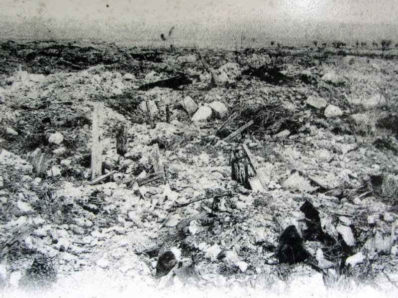 ...but by 1917 was one of eight villages in the red zone completely destroyed...