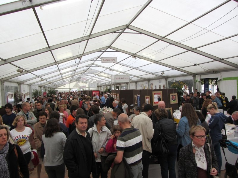 the book fair is small but packed with books, authors, and readers