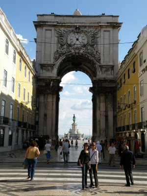 Lisbon - with Sue on Rua Augusta in the Baixa
