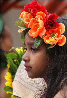 little girl with flowers in her hair