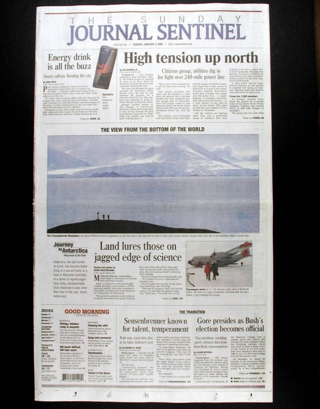 Front page, Sunday, January 7, 2001