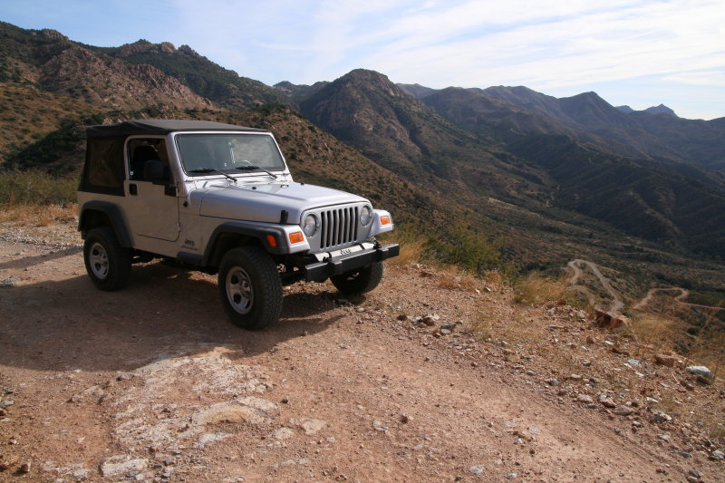 Jeep Parked on the Way Up the Switchbacks