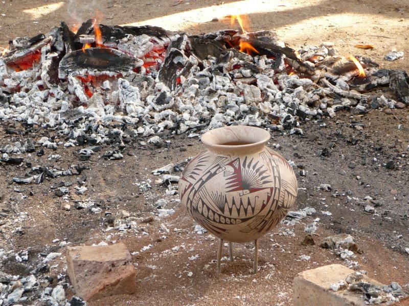 Mata Ortiz Pottery traditional glaze-finish firing