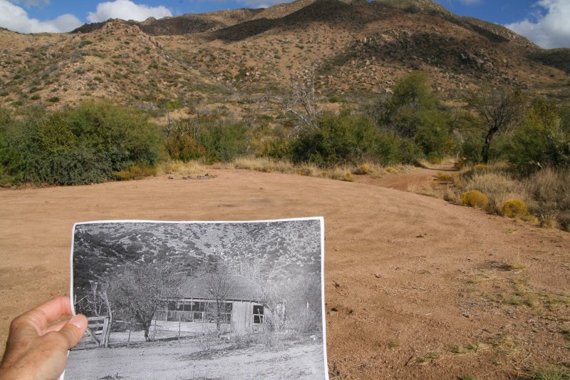 Where the old picture of the cabin was taken