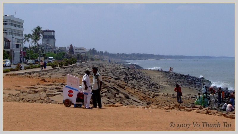 Pondicherrys rocky beach