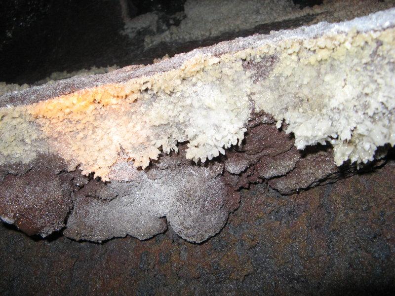 Gypsum crystals (orange is flashlite beam)