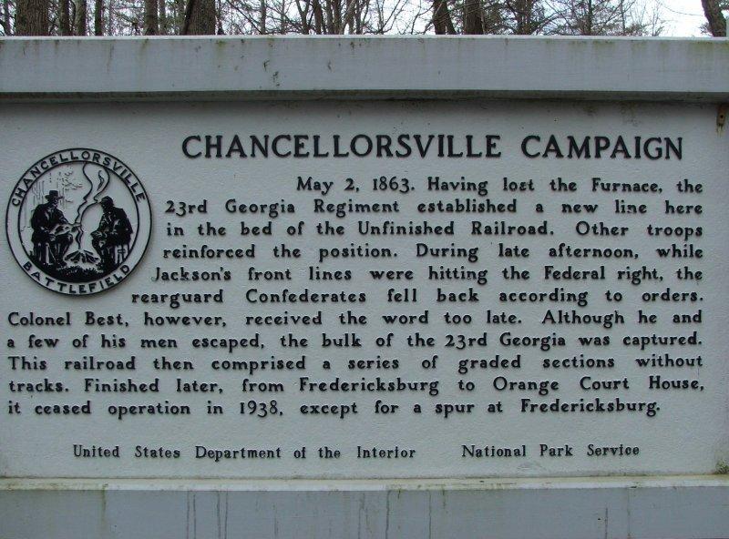 A Civil War marker in Chancellorsville battlefield signifying the importance RR grade
