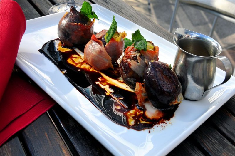 Classic German Appetiser, Roasted Figs Stuffed With Gorgonzola and Wrapped in Prosciutto, Trier