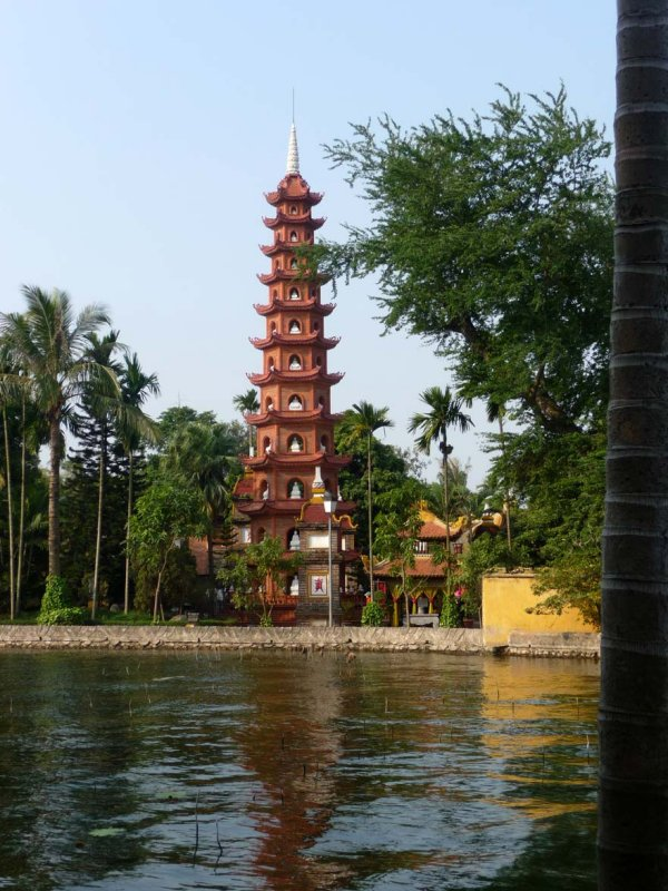 View of the Tran Quoc Pagoda, which is the oldest of all pagodas in Hanoi. It is located beside the dazzling West Lake in Hanoi.