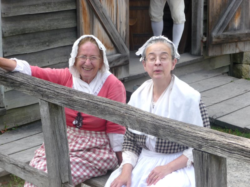These friendly ladies bode us farewell as we left Philipsburg Manor.