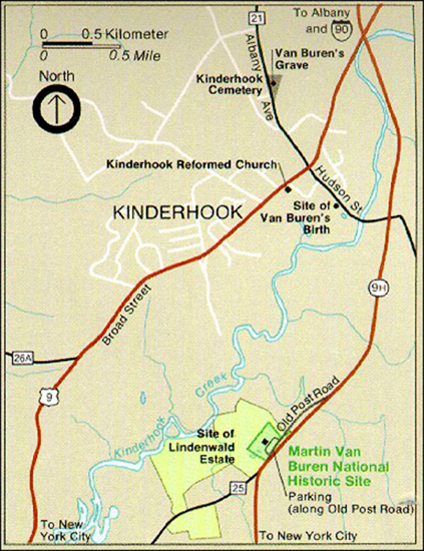 Map of Kinderhook, NY showing the location of Martin Van Burens house, Lindenwald.