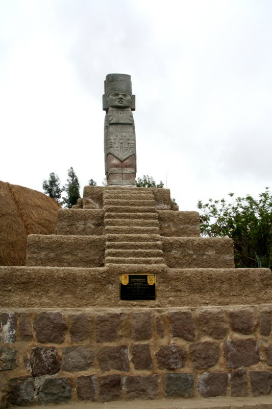 A carved wooden sculpture representing the Tolteca culture who were inhabitants of this area in 9,000 BC.