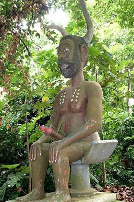 Voodoo. Mawu Lisa, the god of creation, in the Sacred Forest of Ouidah.
