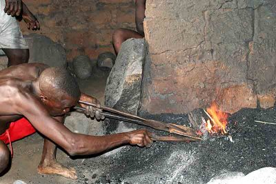Blacksmith in Lamassayoudé, Togo.