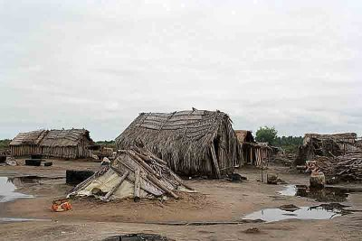 Village near Ouidah, Benin. Here salt is produced from salty sand from the lagoon.