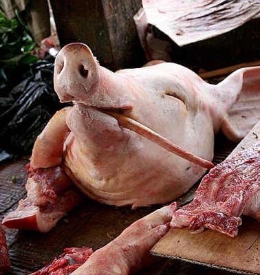 Pig`s head and tail, symbolizing a whole pig, are offered to the spirits.
