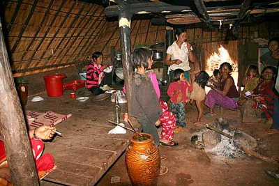 Inside a traditional Phnong house. Pu Tang Village, Mondulkiri, Cambodia
