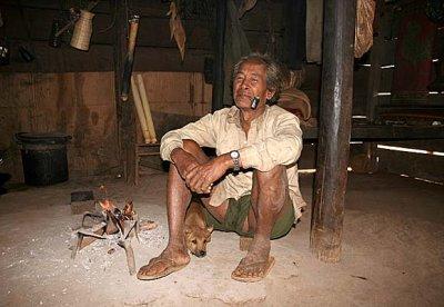 Phnong man in his house in Dak Dam Village, Mondulkiri, Cambodia