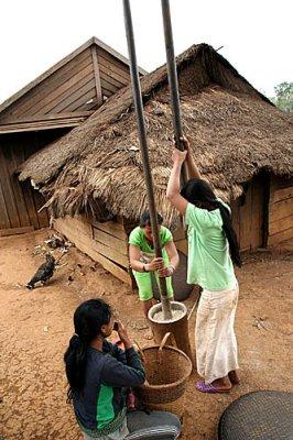 Young Phnong girls pounding rice. Dak Dam Village. Mondulkiri, Cambodia