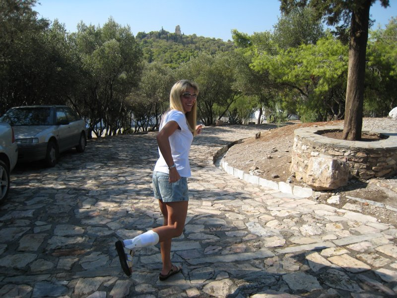 pretending to run down the cobblestone road, the start of the Spartathlon