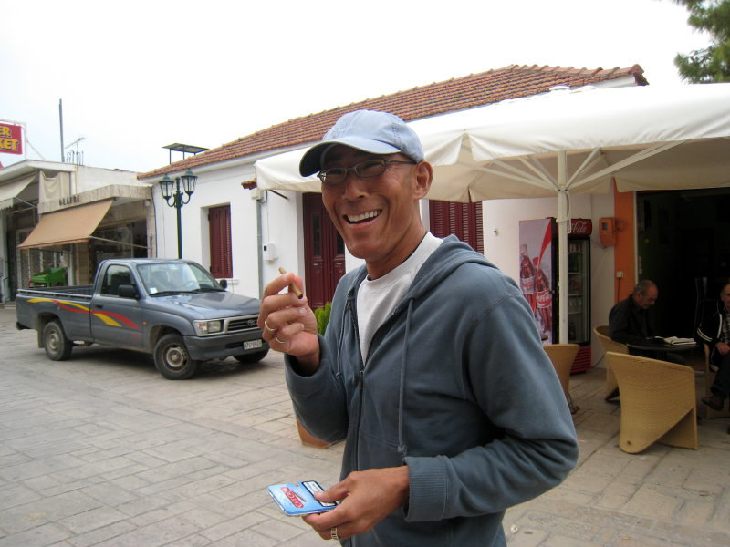 post-race cigar celebration in Ancient Corinth